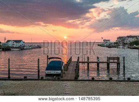 Long Beach Island NJ. USA - JULY 23 2016. Peacefull life in Little Egg Harbor New Jersey repaired after Hurricane Sandy in 2012