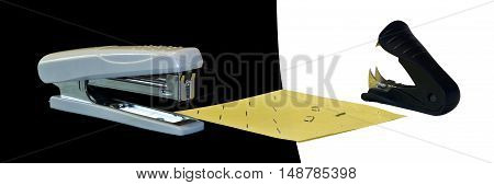 Confrontation stapler vs antistapler  on a blak an white