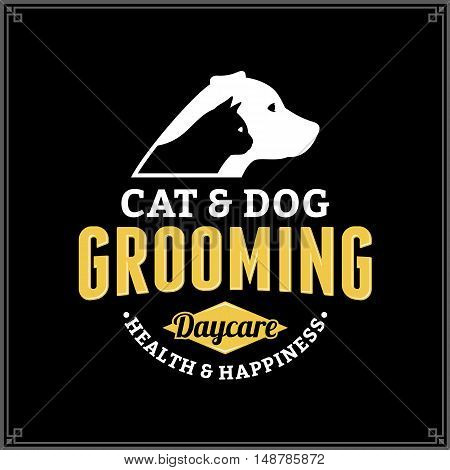 Vector Cat And Dog Grooming Logo