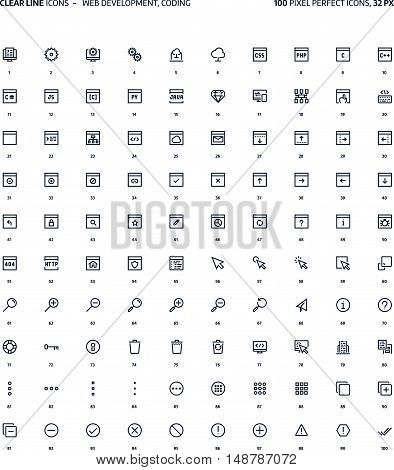 Web development clear line illustrations icons backgrounds and graphics. The icons pack is black and white flat vector pixel perfect minimal suitable for web and print. Linear pictograms.
