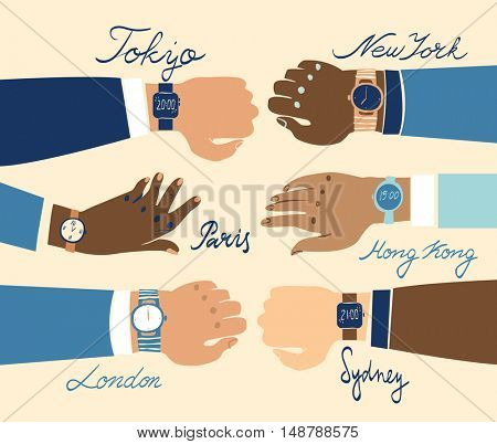 Close up of ethnically diverse outstretched business hands showing watches with various different, accurate time zones of major business cities across the world.