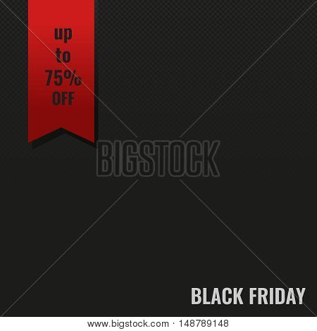 Black Friday sale inscription, simple minimalistic design vector banner. Red ribbon and light gray text on a black background