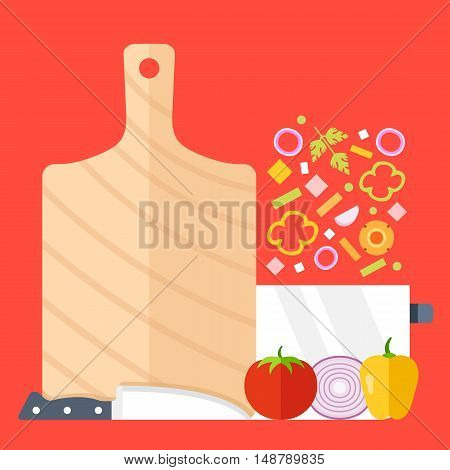 Cutting board, knife, saucepan and vegetables vector set. Flat design. Cooking process, recipe, meal prep concepts. Modern illustration