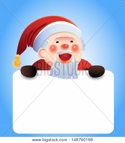 Vector Christmas card with a smiling Santa Claus