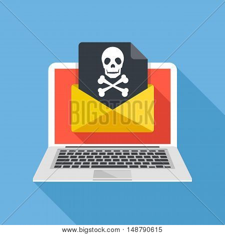 Laptop and envelope with black document and skull icon. Virus, malware, email fraud, e-mail spam, phishing scam, hacker attack concept. Trendy flat design graphic with long shadow. Vector illustration poster
