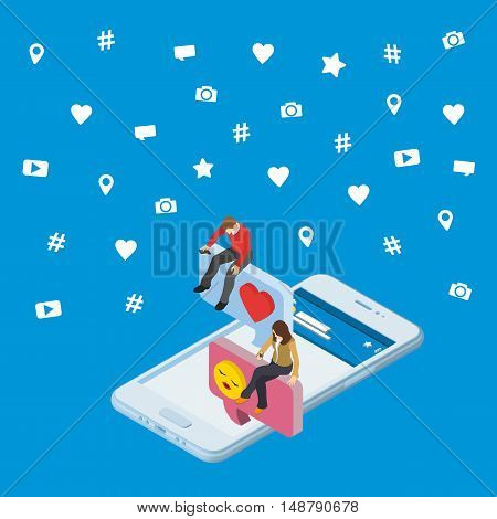 Social media marketing 3d isometric concept. 3d smartphone. Isometric People sit on the dialog box. Online dating and chat. Flat social icons. Exchange messages. Community & Flirt vector illustration.