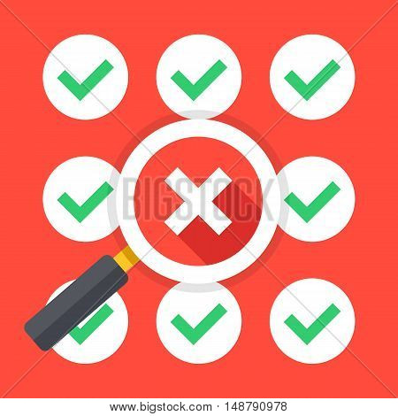 Many green ticks round check mark icons set and magnifying glass with big cross icon. Make bad choice, wrong decision, no solution concepts. Trendy long shadow flat design. Vector illustration