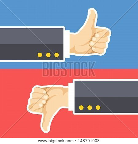 Thumbs up and thumbs down. Hands with like and dislike isolated on blue and red backgrounds. Modern concept. Cartoon thin white line flat design. Vector illustration