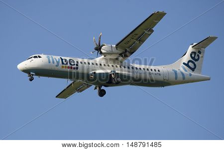 SAINT PETERSBURG, RUSSIA - JULY 24, 2015: The ATR 72-212 (OH-ATN) of company Nordic Regional Airlines before landing in Pulkovo airport