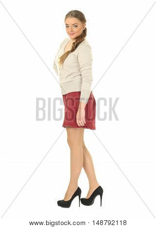 Studio Shot Of A Large Woman In Red Skirt Isolated