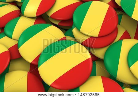 Congo Badges Background - Pile Of Congolese Flag Buttons 3D Illustration
