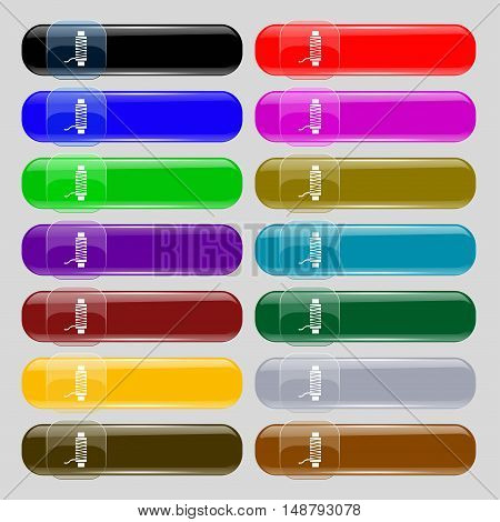 Thread Icon Sign. Set From Fourteen Multi-colored Glass Buttons With Place For Text. Vector