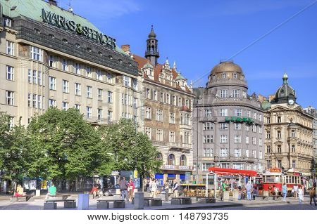 PRAGUE CZECH REPUBLIC - May 06.2012: Hotels and large known shops on Wenceslas Square