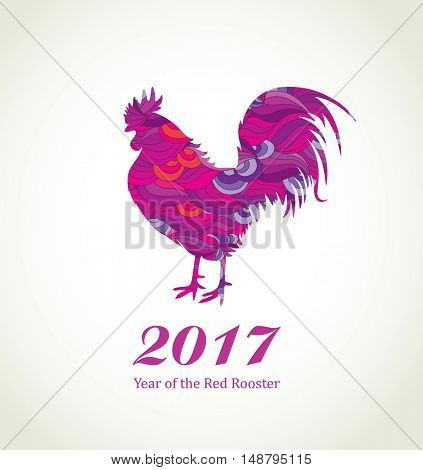 Red Rooster. New Year Greeting Card with Symbol of 2017 on the Chinese Calendar. Fire Cock with Abstract Pattern.