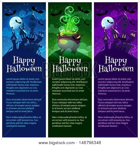 Three vertical orientation banners for Halloween. Vector template flayers in dark tones