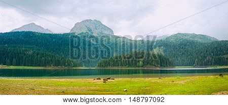 panorama of Black Lake in Durmitor National Park, Montenegro
