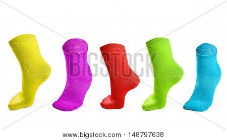 colored socks imitating steps isolated on white background