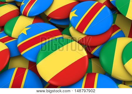 Congo And Dr Congo Badges Background - Pile Of Congolese Flag Buttons 3D Illustration