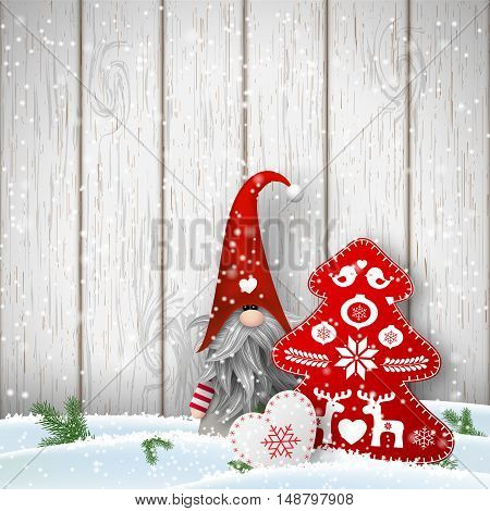 Nisser in Norway and Denmark, Tomtar in Sweden or Tonttu in Finnish, Scandinavian folklore elves, nordic christmas motive, Tomte standing in front of gray wooden wall in snow, with decorated heart and tree, vector illustration, eps 10 with transparency