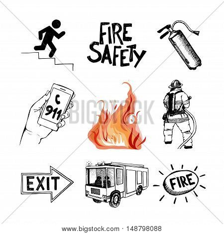 Fire safety and means of salvation. Set of vector hand drawn icons isolated on white background.