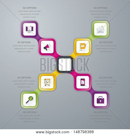 Vector illustration infographics eight options. Stock vector