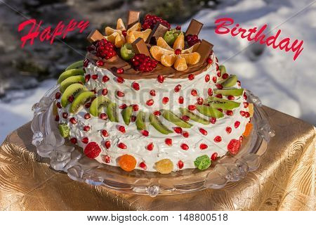Birthday card (two- tiered cake with fruit)