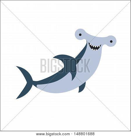 Cartoon Vector Illustration of Hammerhead Shark Fish Sea Life Animal