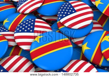 Usa And Dr Congo Badges Background - Pile Of American And Congolese Flag Buttons 3D Illustration