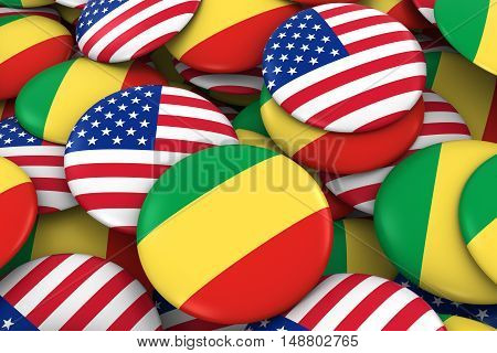 Usa And Congo Badges Background - Pile Of American And Congolese Flag Buttons 3D Illustration