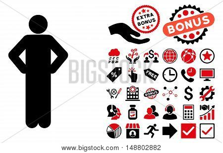 Akimbo Pose icon with bonus pictogram. Vector illustration style is flat iconic bicolor symbols, intensive red and black colors, white background.