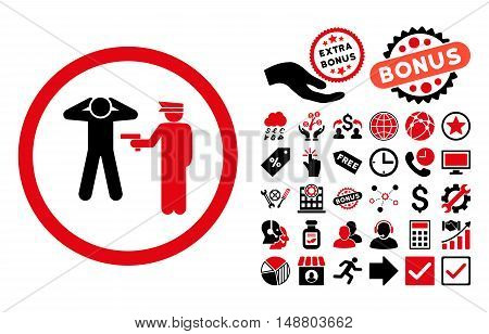 Arrest pictograph with bonus clip art. Vector illustration style is flat iconic bicolor symbols, intensive red and black colors, white background.