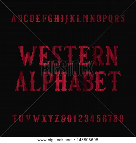 Western vintage alphabet font. Distressed serif letters and numbers. Retro vector typography for your design.