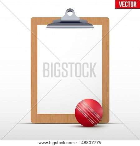 Coaching blank clipboard and cricket ball. Editable Vector illustration Isolated on white background.
