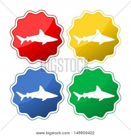 Collection of sharks isolated on white background