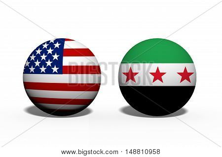 The United States of America and Syria working together Two globes with a flag of the United States and Syria isolated on white 3D Illustration