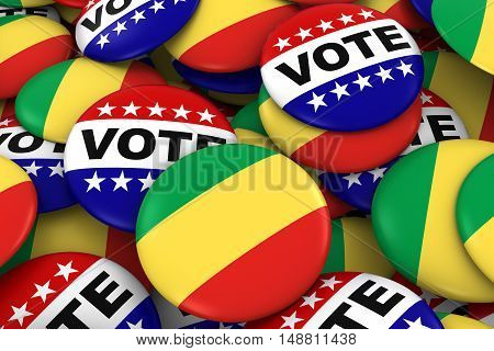 Congo Elections Concept - Congolese Flag And Vote Badges 3D Illustration