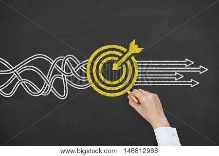 Goal Solution Concept on Blackboard Background Working Conceptual Business Concept