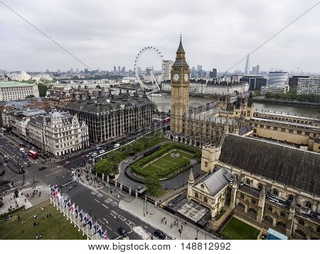 London with the Big Ben Tower clock the Skyline aerial