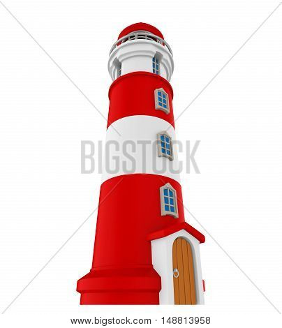 Red Lighthouse isolated on white background. 3D render