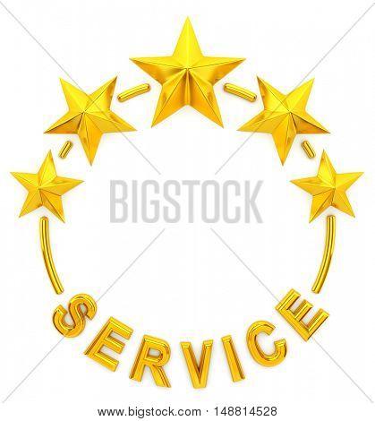 Five golden star service - 3d rendering