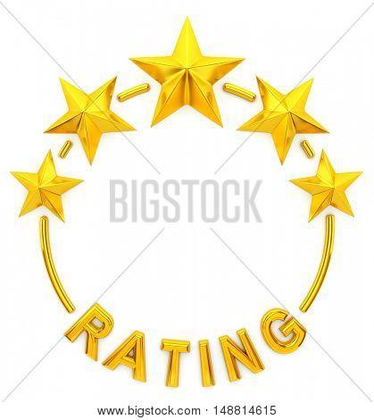 Five golden star rating- 3d rendering
