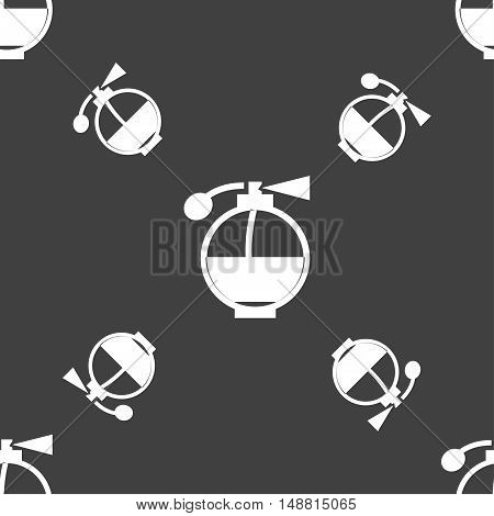 Perfume Icon Sign. Seamless Pattern On A Gray Background. Vector