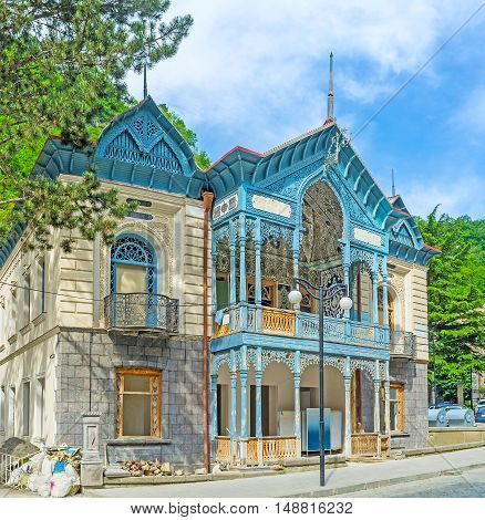 The Blue Palace also known as Firuza is historical mansion in the center of resort built by consul of Iran Borjomi Georgia.
