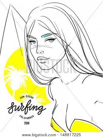 Blonde bikini girl with surf Summer beach poster