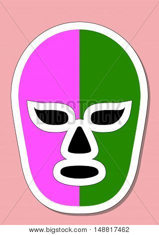 Mexican mask used in fighting. Typical costume for fighters in mexican lucha libre combats. Vector illustration