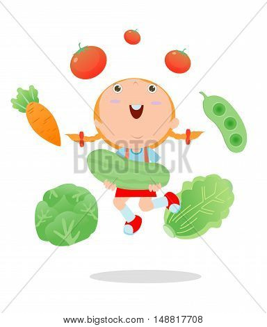 Happy kid holding smiling live vegetables, Children and vegetables, Healthy children food concept, Happy kids holding jumping vegetables, children in the farm,kid and vegetables, Vector Illustration