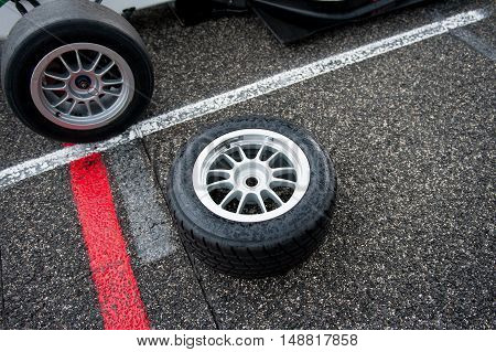 Wet Motor Sport Racing Tire On Circuit Track
