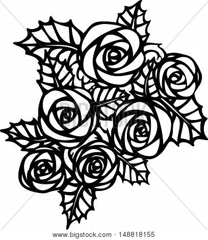 Beautiful monochrome black and white rose flower in tatto style