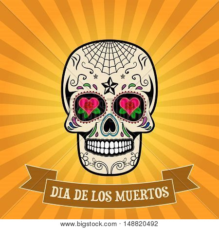 day of the dead. dia de los muertos. Sugar skull on vintage background with banner. Vector illustration.