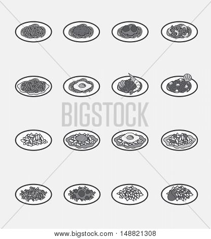 Hand drawn vector illustration of spaghetti dishes on plates.